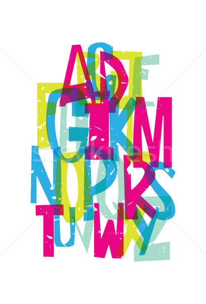 Kolorowy grunge chrzcielnica strony rysunek alfabet Zdjęcia stock © Vanzyst