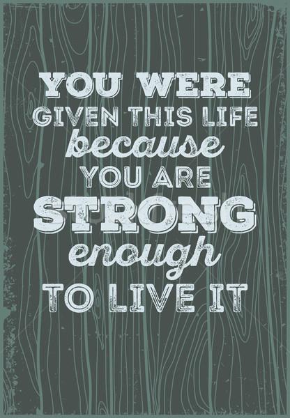 Hout typografisch citaten leven sterke Stockfoto © Vanzyst