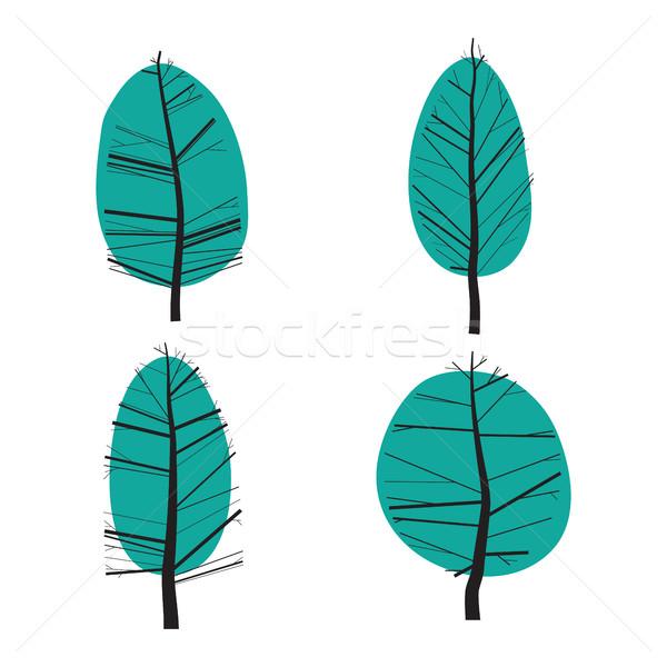 Zestaw streszczenie stylizowany ilustracja drzew proste Zdjęcia stock © Vanzyst