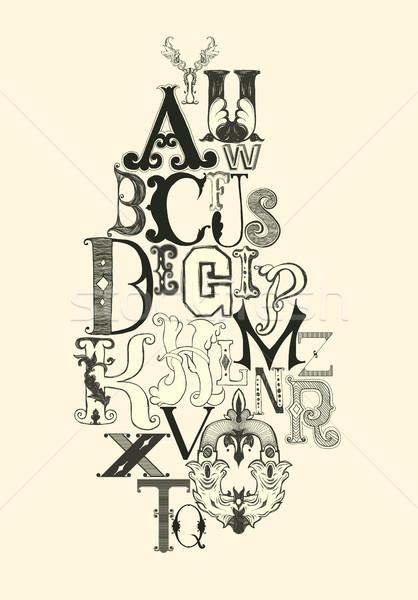 Czarny alfabet litery retro vintage biały Zdjęcia stock © Vanzyst