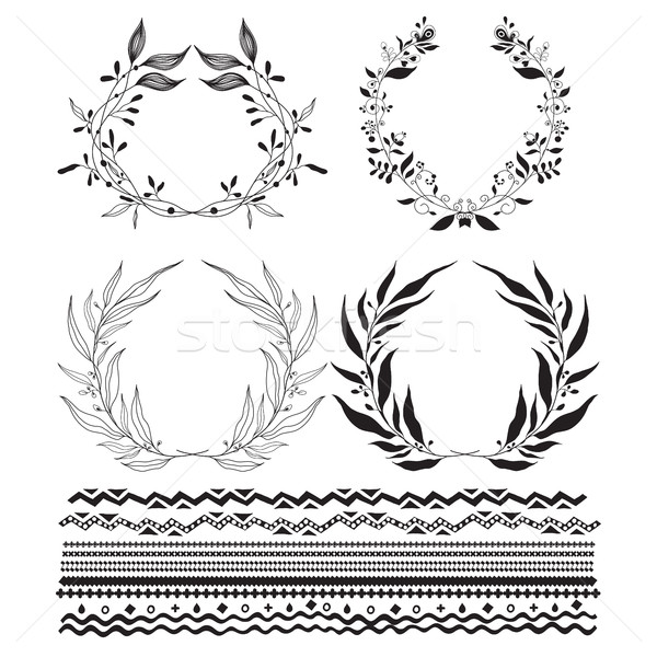 Decorative wreaths and stylized stripes underscore Stock photo © Vanzyst