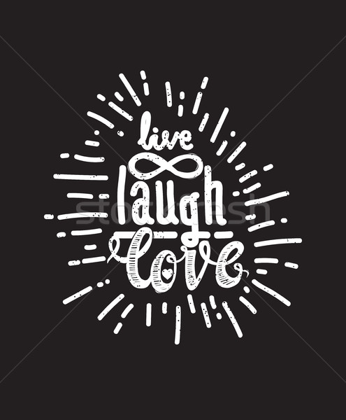 Poster live lachen liefde zwarte universeel Stockfoto © Vanzyst
