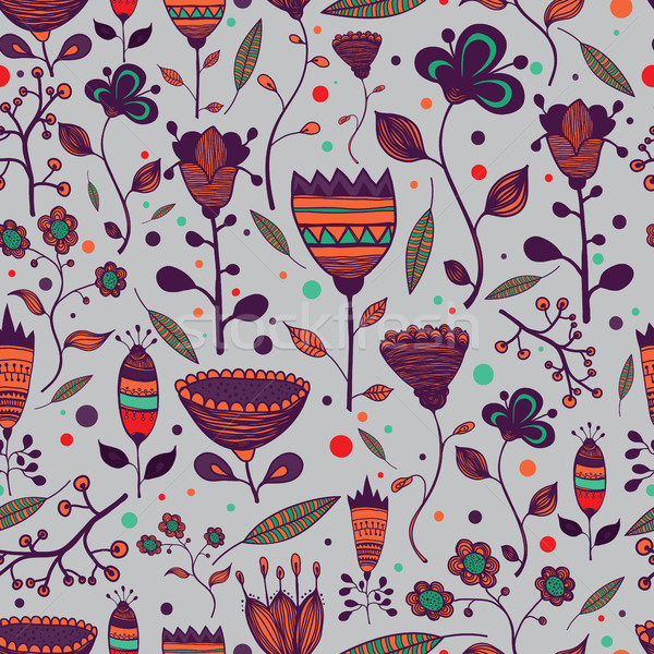 Seamless handwork floral pattern with colorful doodles Stock photo © Vanzyst