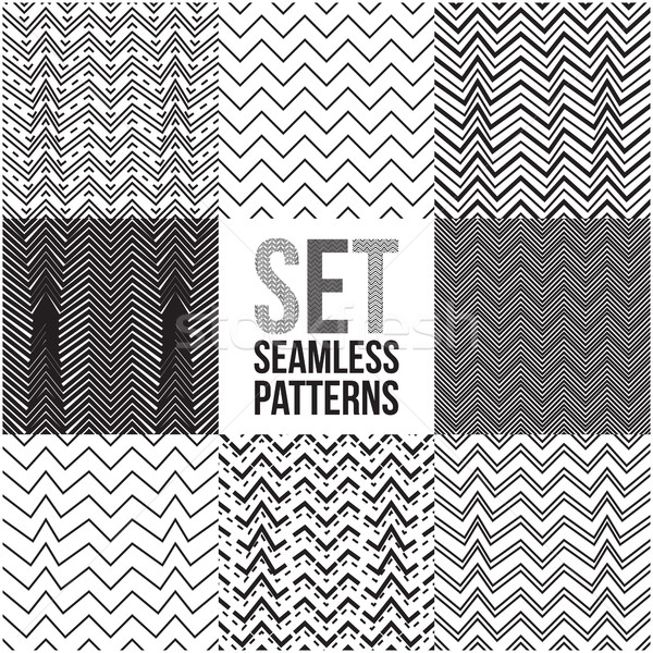 Universal different vector seamless patterns. Zigzag ornament  Stock photo © Vanzyst