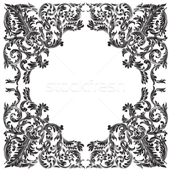Vintage barok frame witte abstract blad Stockfoto © Vanzyst