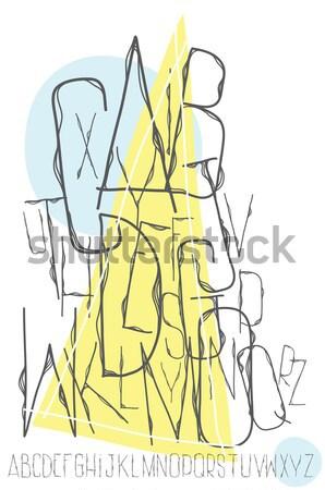 Alfabet litery biały geometryczny tle ramki Zdjęcia stock © Vanzyst