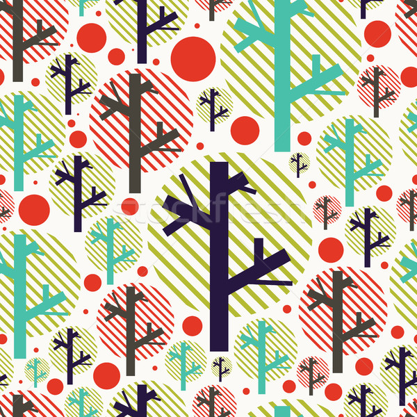 Seamless handwork pattern with colorful trees and circles Stock photo © Vanzyst
