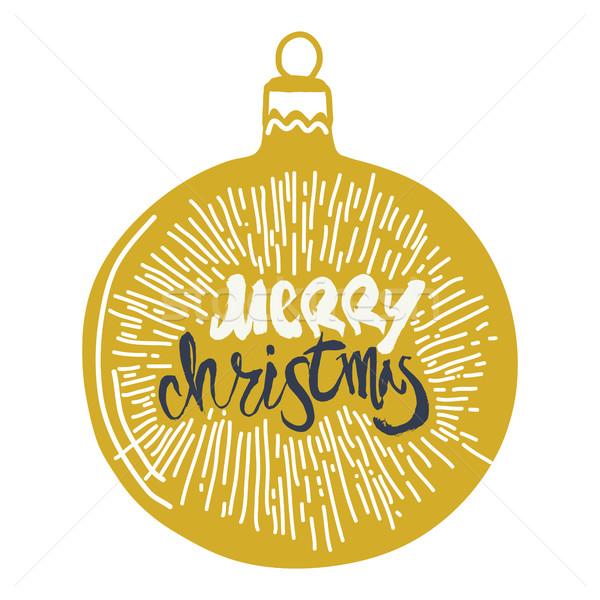 Vidám karácsony kalligráfia labda kézzel írott modern Stock fotó © Vanzyst