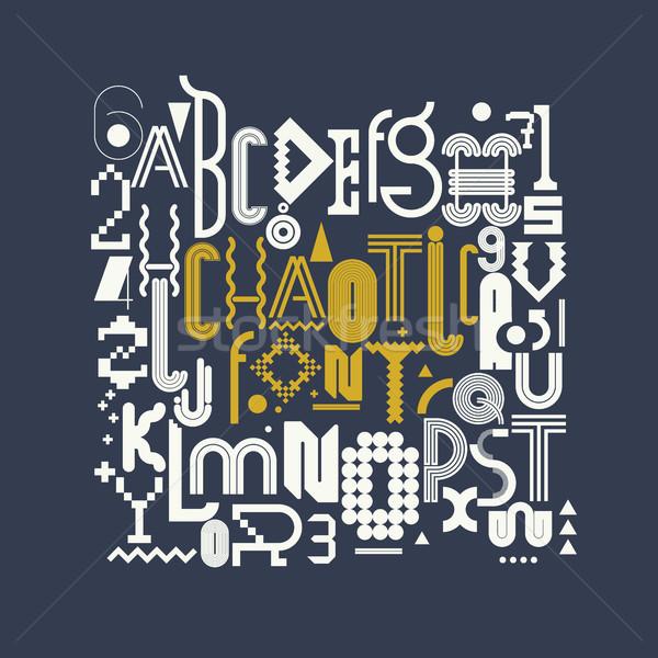 Dolgozik betűtípus modern elegáns kaotikus eredeti Stock fotó © Vanzyst
