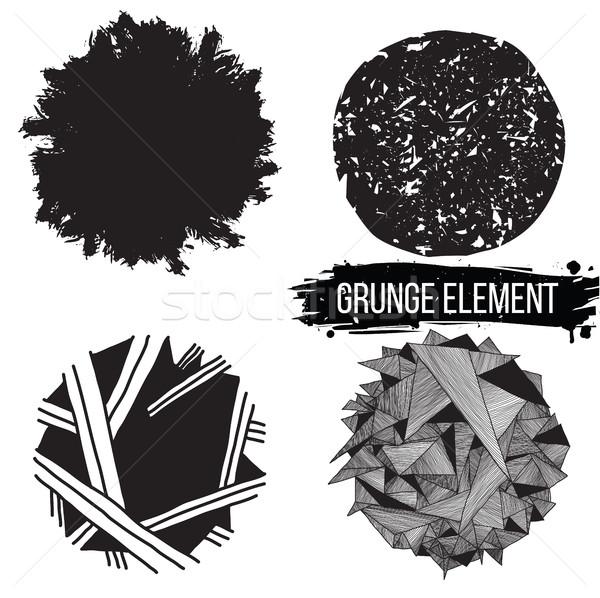 Stock fotó: Szett · grunge · elemek · absztrakt · hátterek · terv