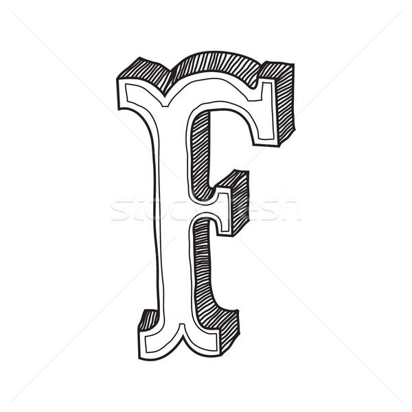 Klasszikus stílus f betű dekoratív levél ősi Stock fotó © Vanzyst