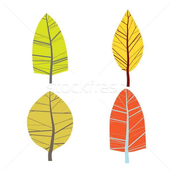 Zestaw cztery streszczenie drzew odizolowany biały Zdjęcia stock © Vanzyst