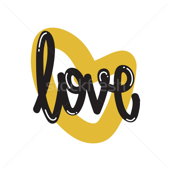Poster Vector lettering love Stock photo © Vanzyst