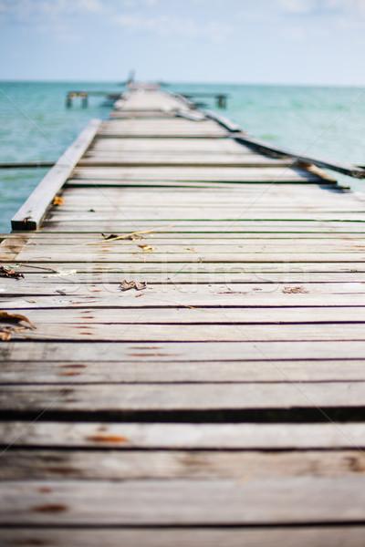 木製 桟橋 海 島 破壊された 橋 ストックフォト © Vanzyst