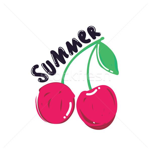 Popularny lata Berry plakat wiśniowe wektora Zdjęcia stock © Vanzyst