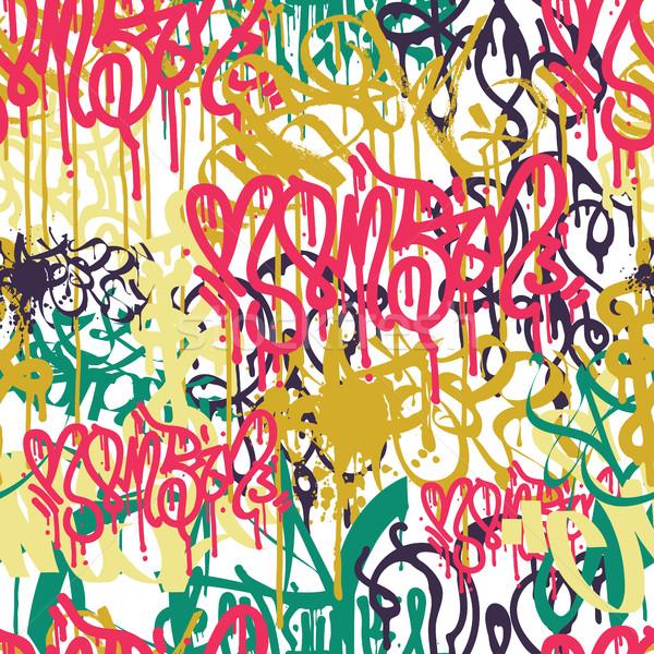 Graffiti colorful seamless pattern Stock photo © Vanzyst