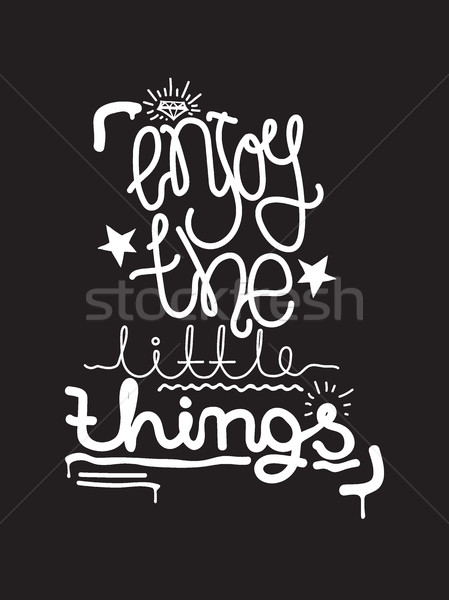 Enjoy the little things. Simple lettering quote, universal youth Stock photo © Vanzyst
