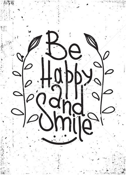 幸せ 笑顔 単純な 引用 デザイン 要素 ストックフォト © Vanzyst