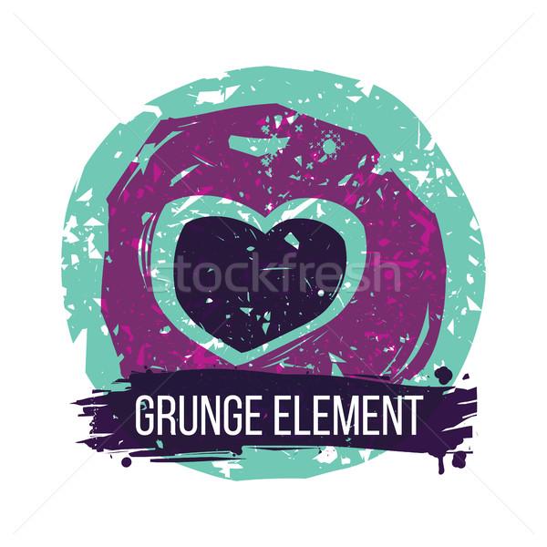 Grunge hart kleurrijk abstract communie valentijnsdag Stockfoto © Vanzyst
