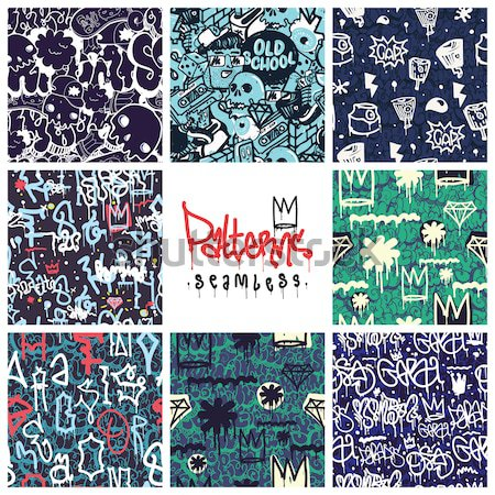 Graffiti seamless patterns set Stock photo © Vanzyst