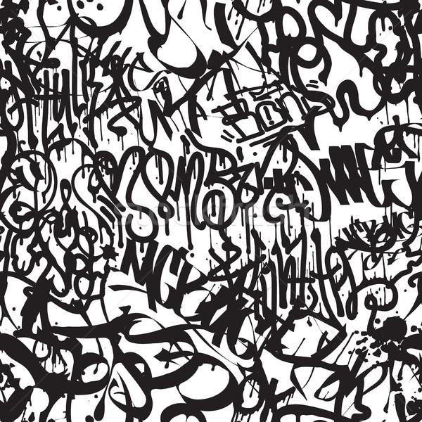 Vektor címkék végtelen minta divat graffiti kéz Stock fotó © Vanzyst