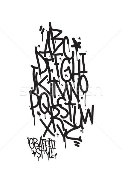 Graffiti ábécé levelek írott kalligráfia street art Stock fotó © Vanzyst