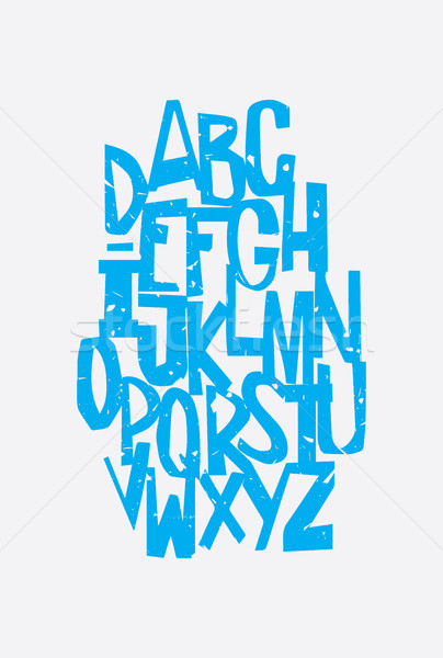 смешные Гранж алфавит письма ретро-стиле стороны Сток-фото © Vanzyst
