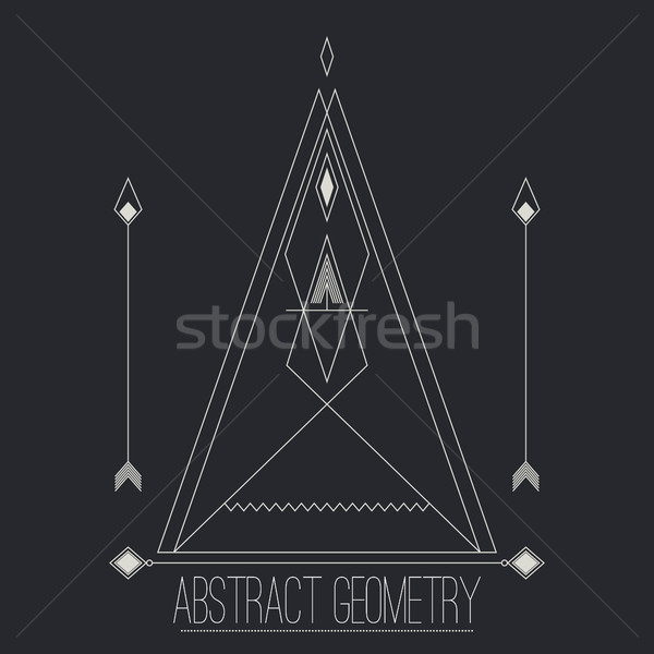 Simple separate abstract geometric figure with lines, arrow, cir Stock photo © Vanzyst