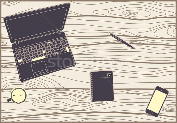 Biuro drewniany stół laptop pióro kubek kawy Zdjęcia stock © Vanzyst