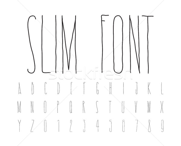 Simple decorative font handwritten, slim alphabet  Stock photo © Vanzyst