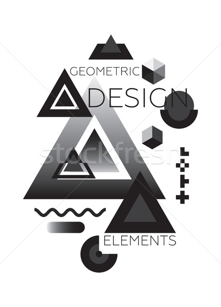 Foto stock: Caótico · geométrico · abstrato · moderno · preto · e · branco · cor