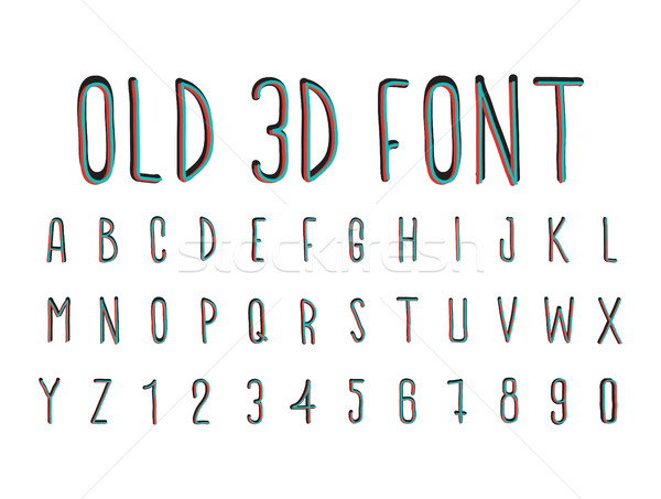 Colorful old 3D font, stereoscopic effect Stock photo © Vanzyst