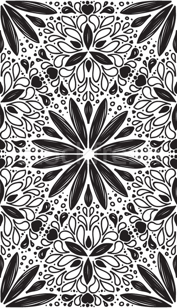Abstract geometric seamless pattern with hand drow flowers Stock photo © Vanzyst