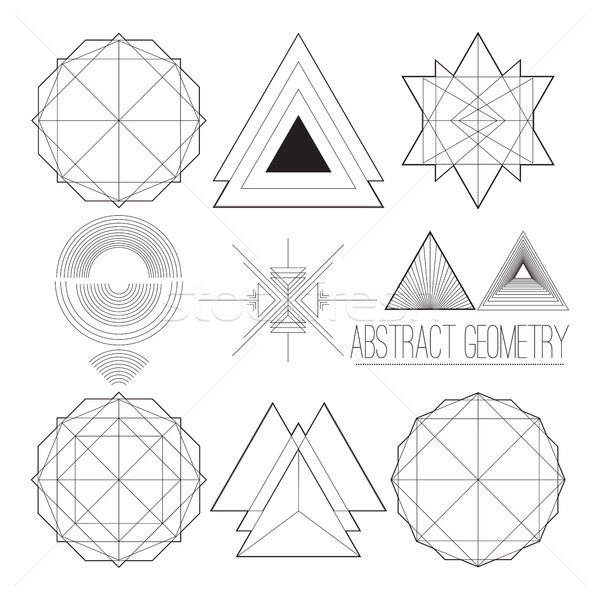 Set with simple separate abstract vector figures with title  Stock photo © Vanzyst