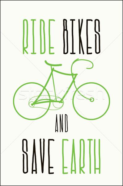 экологический плакат велосипедах сохранить земле Сток-фото © Vanzyst