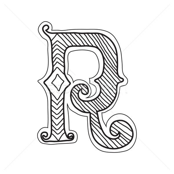 Vintage стиль буква r декоративный письме древних Сток-фото © Vanzyst
