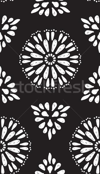 Absztrakt mértani végtelen minta kéz virágok kézzel rajzolt Stock fotó © Vanzyst