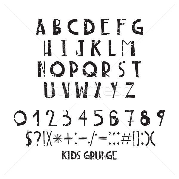 Divertente bambini semplice lettere grunge kid Foto d'archivio © Vanzyst