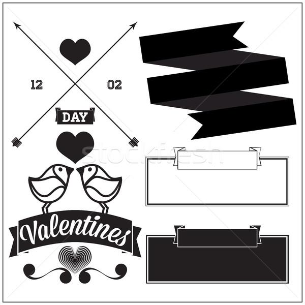 Valentijnsdag ingesteld element ontwerp viering liefde Stockfoto © Vanzyst