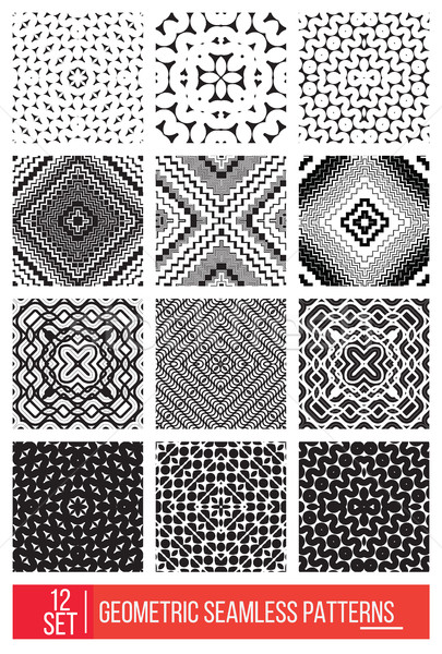 Set of Universal different geometric seamless patterns, monochro Stock photo © Vanzyst