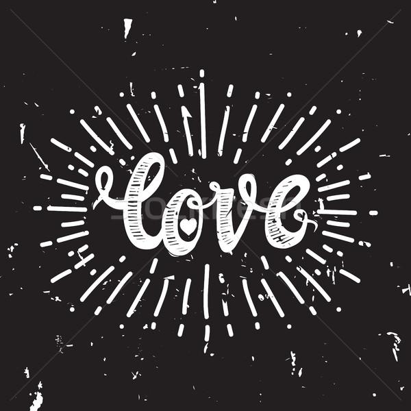 Liefde zwarte universeel opschrift eren Stockfoto © Vanzyst