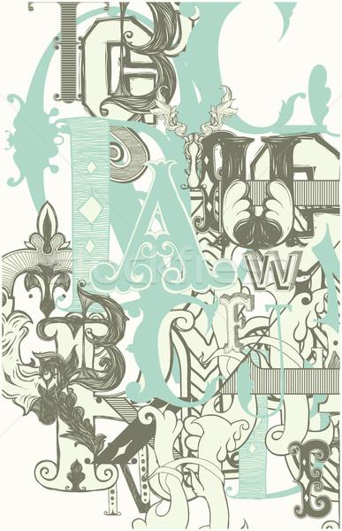 Retro alfabet litery vintage biały projektu Zdjęcia stock © Vanzyst
