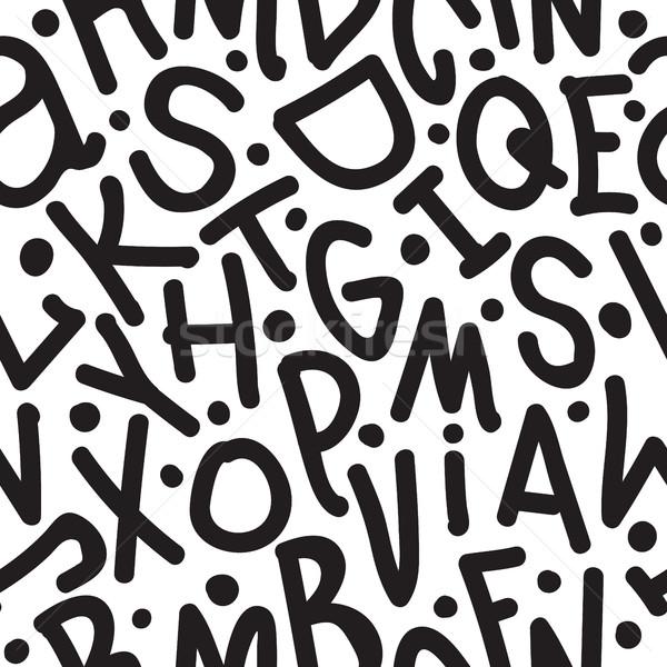 Kunst doopvont zwarte alfabet brieven Stockfoto © Vanzyst