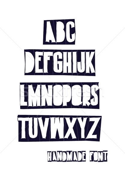Kézzel rajzolt levelek kéz betűtípus rajz ábécé Stock fotó © Vanzyst
