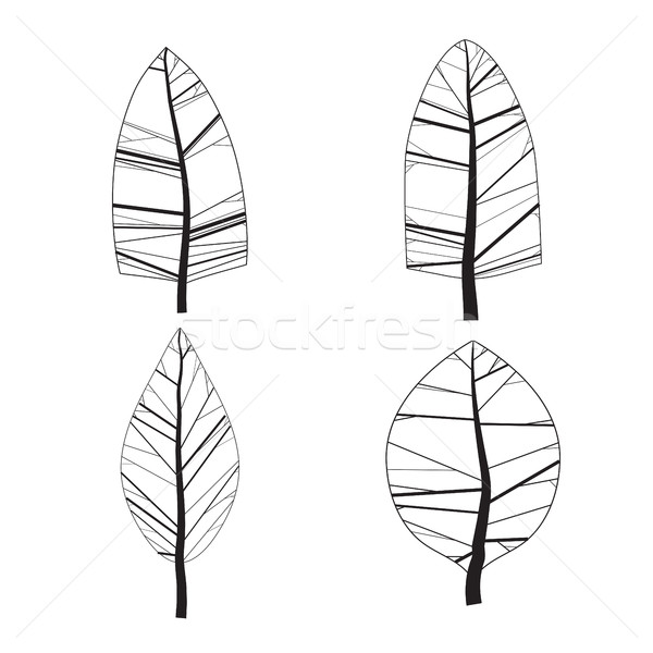 Simple set of ornamental trees. Isolated on white background Stock photo © Vanzyst