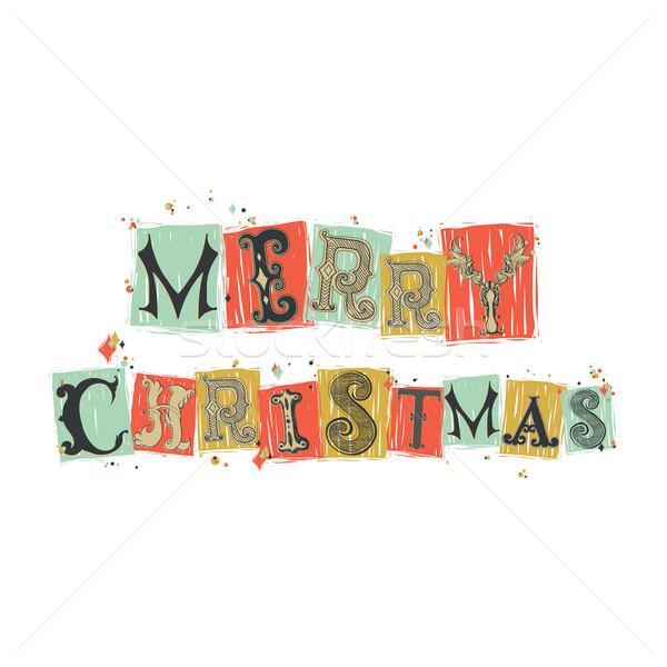 Сток-фото: веселый · Рождества · шрифт · древних · письма