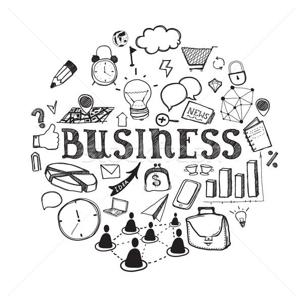 бизнеса иллюстрация иконки эскиз стиль белый Сток-фото © Vanzyst