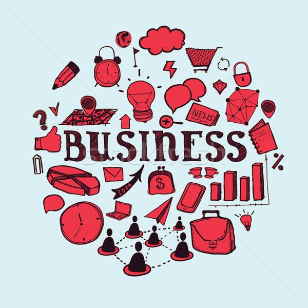 рисованной бизнеса связи иконки красный синий Сток-фото © Vanzyst