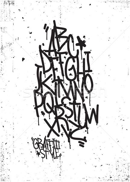 Strony rysunek alfabet grunge tekstury wektora Zdjęcia stock © Vanzyst