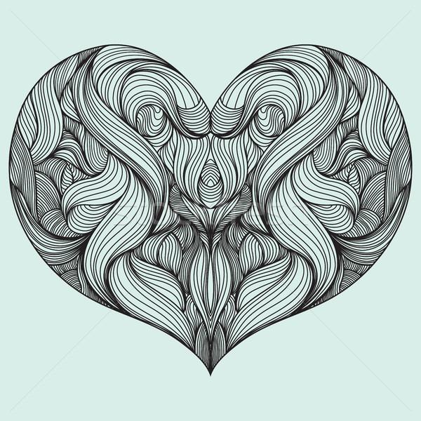 Vorm hart decoratief patroon abstract Blauw Stockfoto © Vanzyst